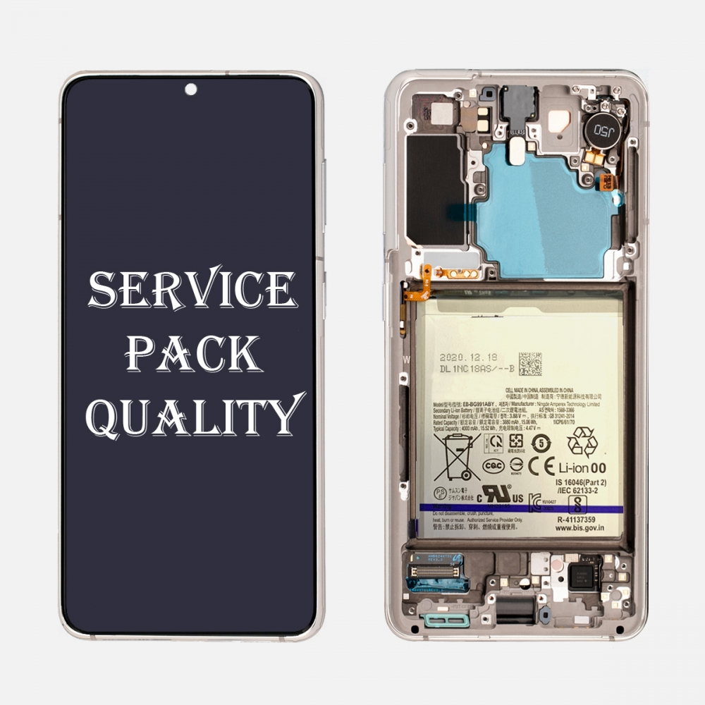 White OLED Display LCD Touch Screen Digitizer + Frame for Samsung Galaxy S21 5G (Service Pack)