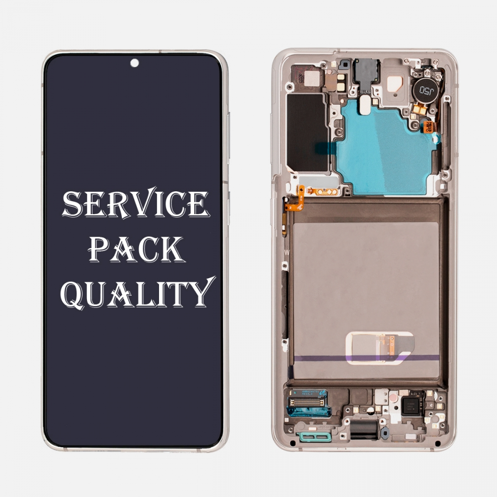 White OLED Display LCD Touch Screen Digitizer Frame for Samsung Galaxy S21 5G (Service Pack)