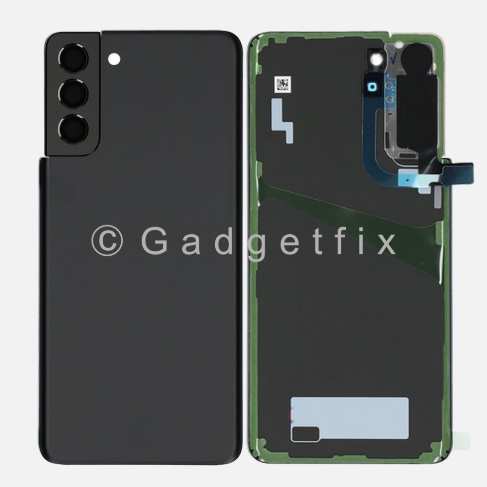 Black Back Cover Glass Battery Door Camera Lens + Adhesive for Samsung Galaxy S21 Plus 5G