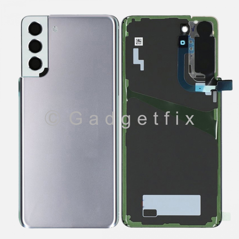 Silver Back Cover Glass Battery Door Camera Lens + Adhesive for Samsung Galaxy S21 Plus 5G