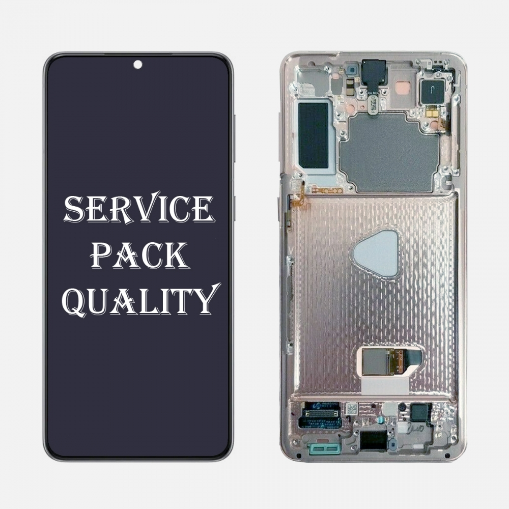 Silver OLED Display LCD Touch Screen Digitizer + Frame for Samsung Galaxy S21+ 5G Plus (Service Pack)