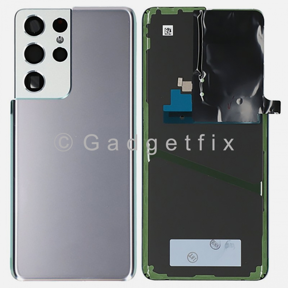 Silver Back Cover Glass Battery Door Camera Lens + Adhesive for Samsung Galaxy S21 Ultra 5G