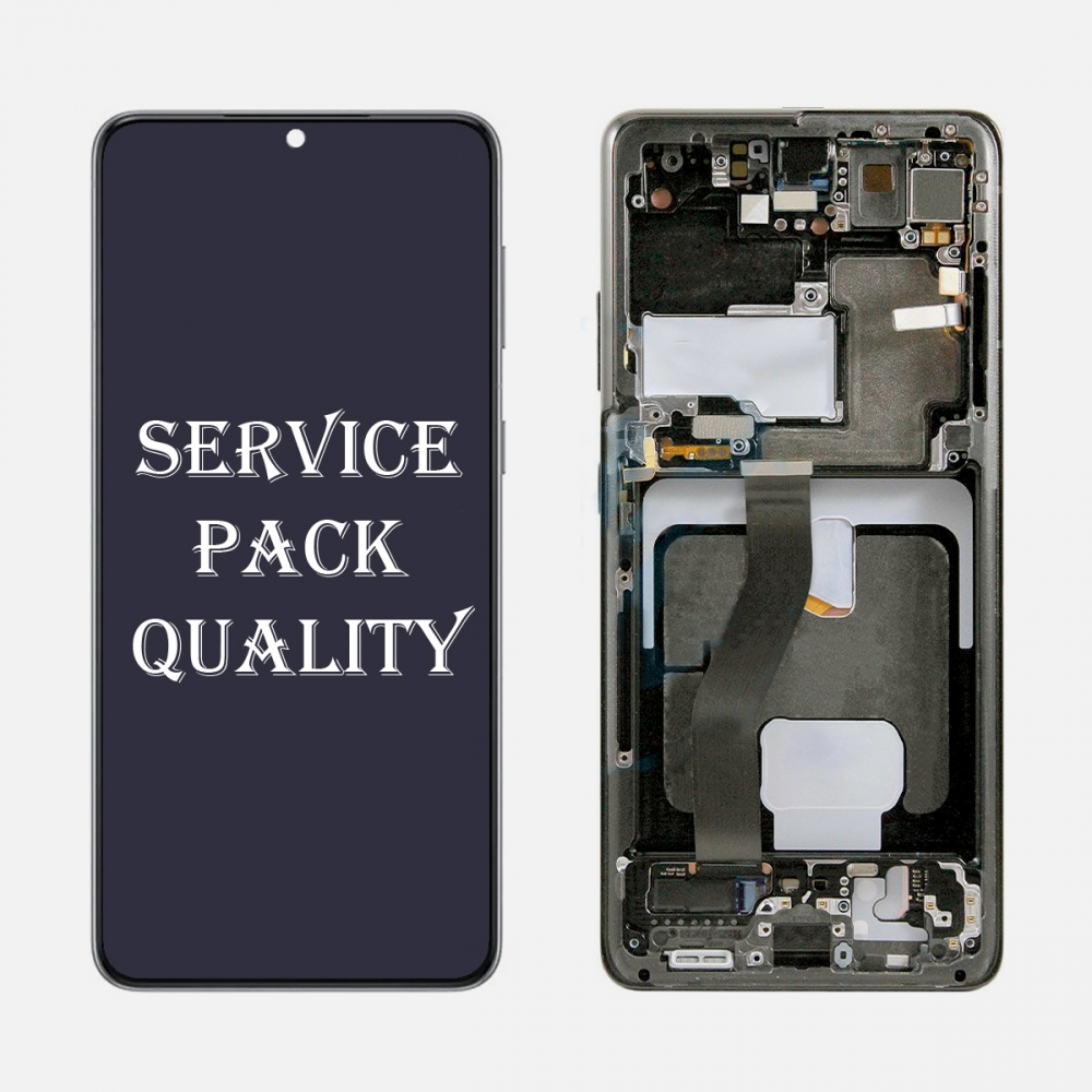 Black OLED Display LCD Touch Screen Digitizer Frame for Samsung Galaxy S21 Ultra 5G (Service Pack)