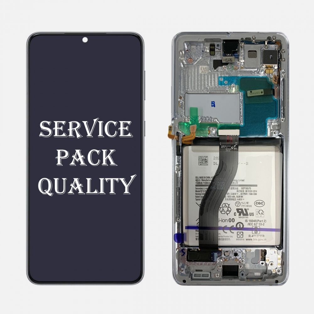 Silver OLED Display LCD Touch Screen Digitizer + Frame for Samsung Galaxy S21 Ultra 5G (Service Pack)