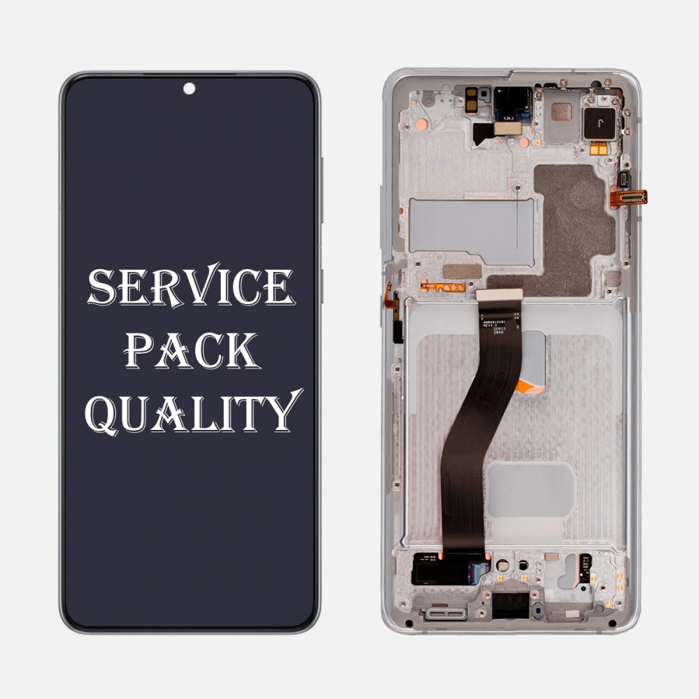 Silver OLED Display LCD Touch Screen Digitizer Frame for Samsung Galaxy S21 Ultra 5G (Service Pack)