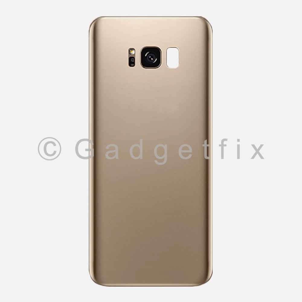 Gold Back Glass Cover Battery Door + Camera Lens + Adhesive for Samsung Galaxy S8 Plus