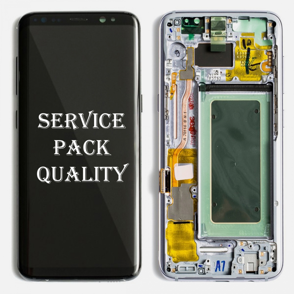 Silver OLED LCD Touch Screen Digitizer + Frame For Samsung Galaxy S8 Plus (Service Pack)