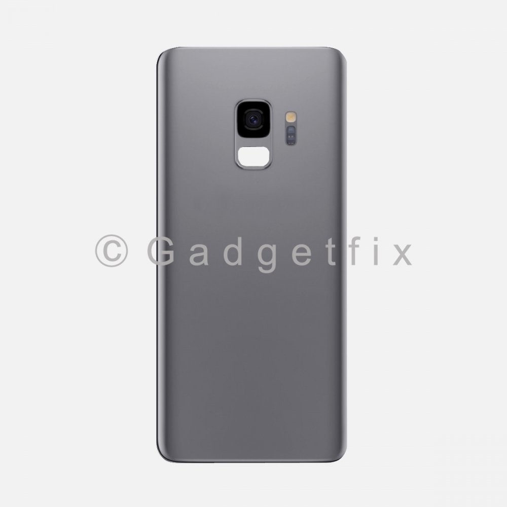 Gray Back Cover Glass Battery Door Camera Lens + Adhesive for Samsung Galaxy S9