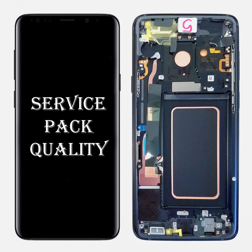 Blue Display LCD Touch Screen Digitizer + Frame For Samsung Galaxy S9 (Service Pack)
