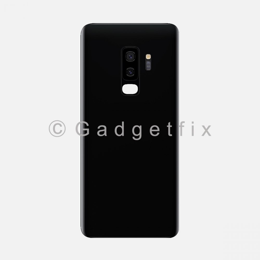 Black Back Cover Glass Battery Door Camera Lens + Adhesive for Samsung Galaxy S9 Plus