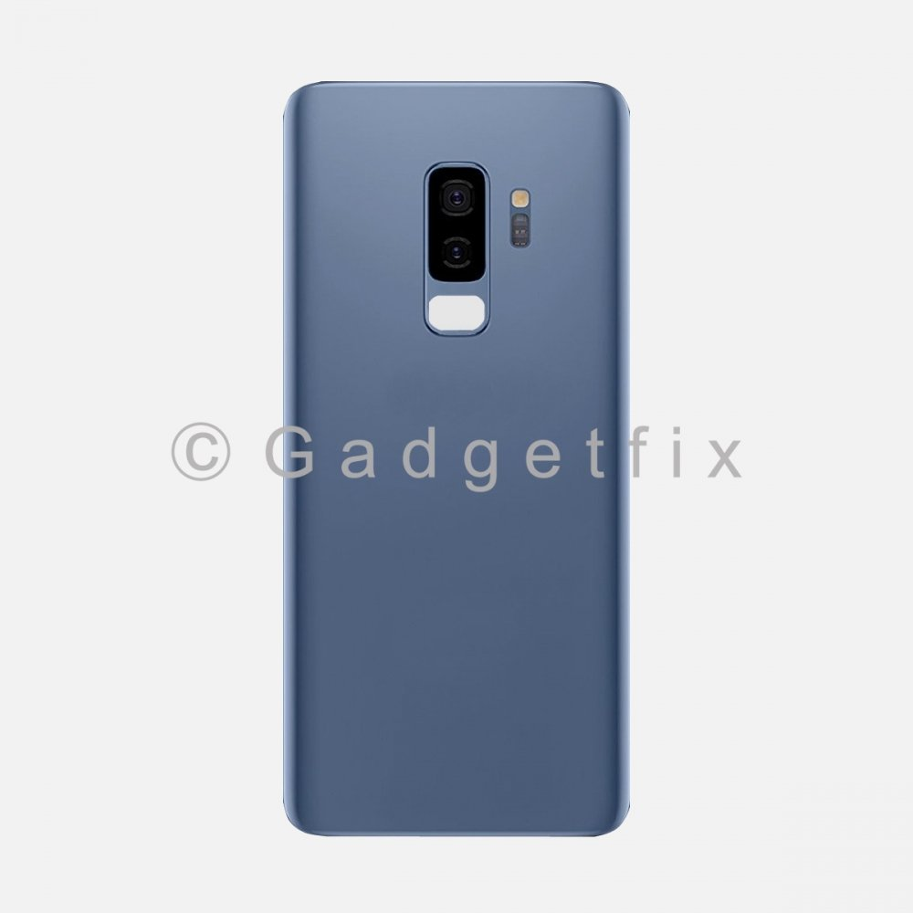 Blue Back Cover Glass Battery Door Camera Lens + Adhesive for Samsung Galaxy S9 Plus