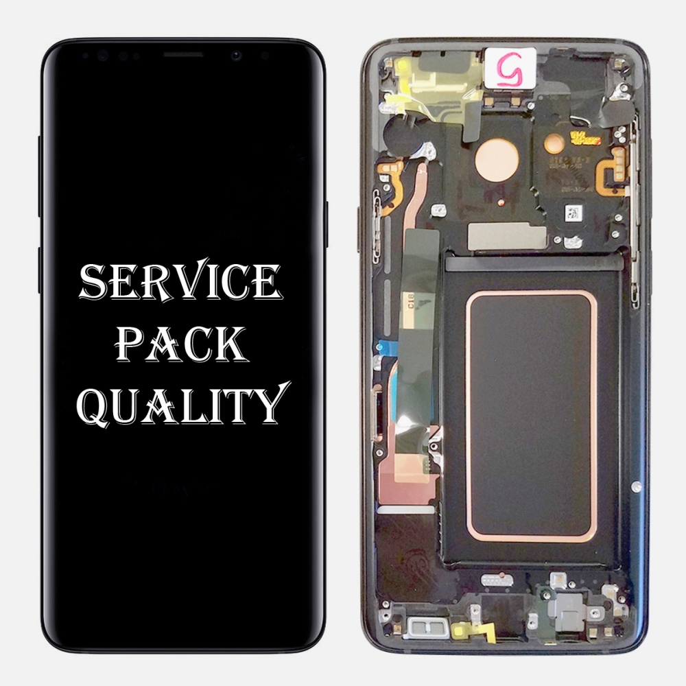 Gray Display LCD Touch Screen Digitizer + Frame For Samsung Galaxy S9 (Service Pack)