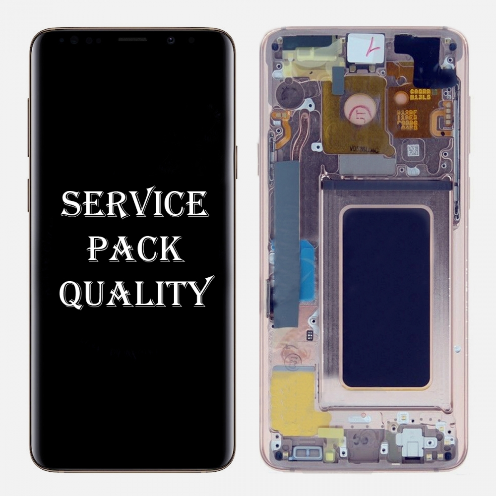 Gold LCD Display Touch Screen Digitizer Assembly + Frame For Samsung Galaxy S9 (Service Pack)