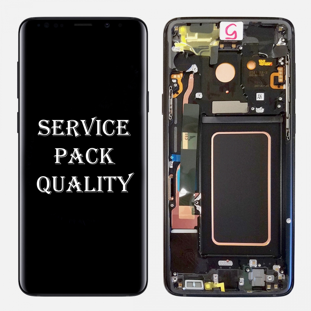Black Display LCD Touch Screen Digitizer + Frame For Samsung Galaxy S9 (Service Pack)