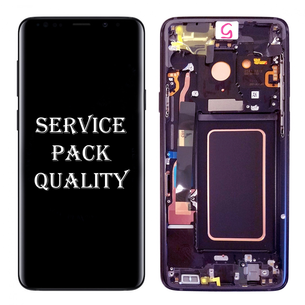 Purple Display LCD Touch Screen Digitizer + Frame For Samsung Galaxy S9 (Service Pack)